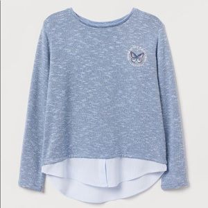 NWT H&M Blue/White Long Sleeve Top 8-10Y